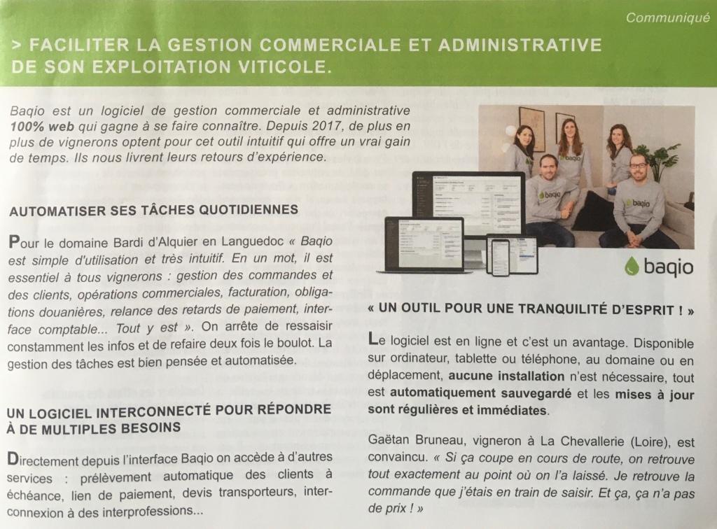 """Photo de l'article """"Faciliter la gestion commerciale et administrative de son exploitation viticole"""" avec Baqio, dans Réussir Vigne."""
